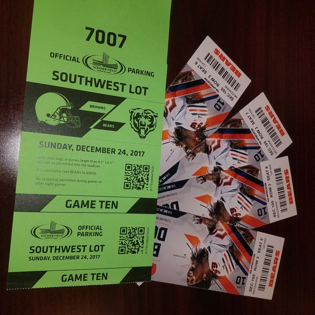 4 great tix to Bears vs Browns 12/24/17 - Festa Auction