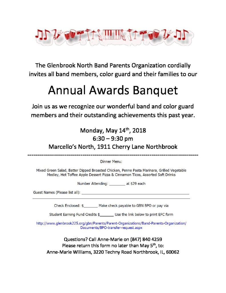 Band Banquet - Invitation- Monday May 14th